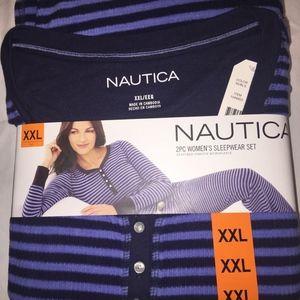NEW NAUTICA Womens 2-piece Pajama Set Microfleece